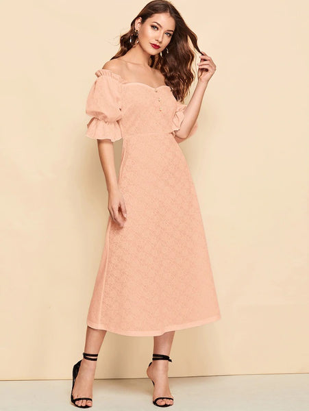 CM-DS328022 Women Casual Seoul Style Button Front Ruffle Puff Sleeve Jacquard Bardot Dress - Pink