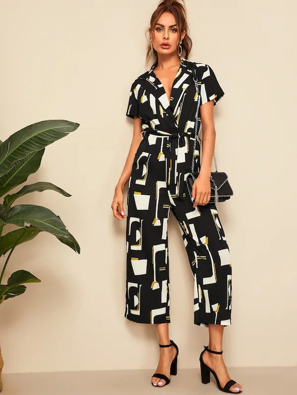 CM-JS410951 Women Casual Seoul Style Geometric Print Belted Notched Collar Jumpsuit