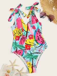 CM-SWS422833 Women Trendy Seoul Style Graphic Print Tie Shoulder One Piece Swimsuit