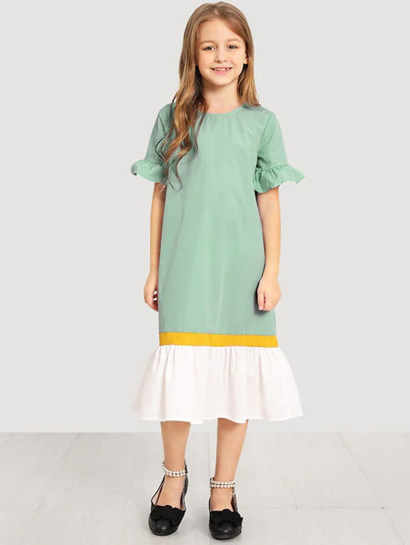CM-KD412620 Girls Seoul Style Keyhole Back Cut And Sew Dress - Light Green
