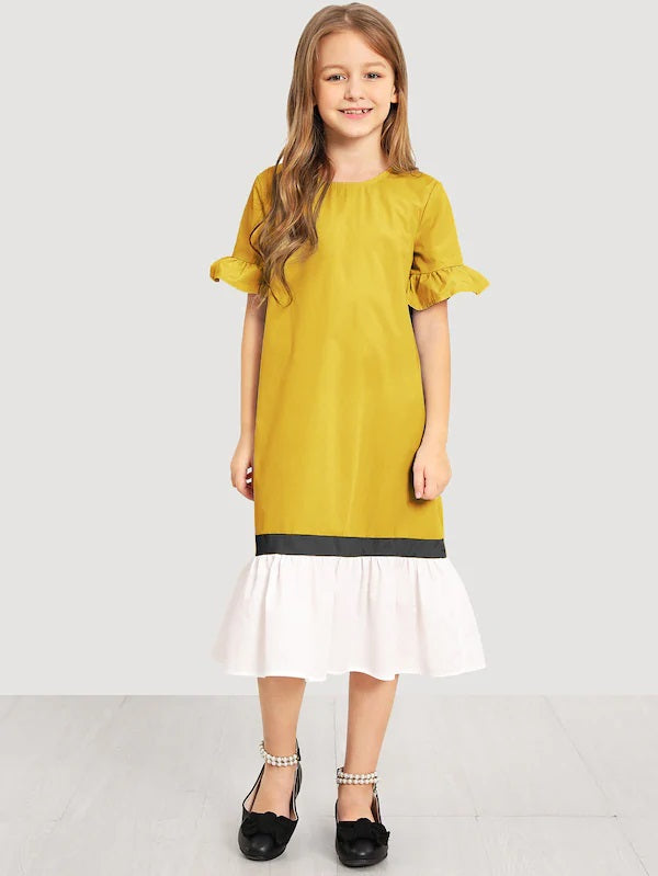 CM-KD412014 Girls Seoul Style Keyhole Back Cut And Sew Dress - Yellow