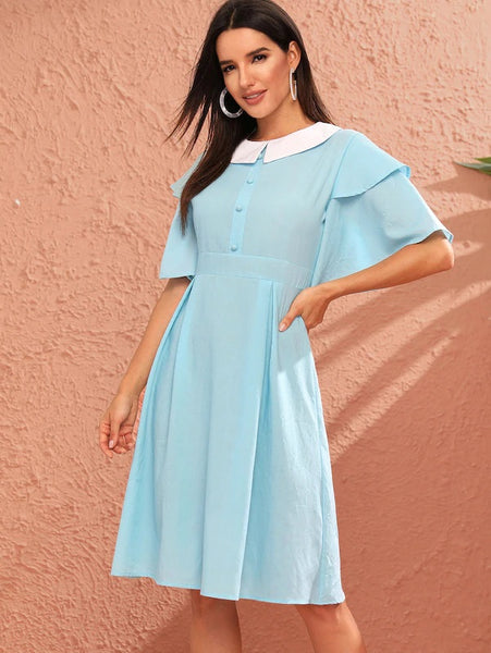 CM-DS603819 Women Preppy Seoul Style Layered Ruffle Sleeve Peter Pan Collar Dress - Blue