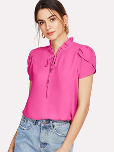 CM-TS515255 Women Casual Seoul Style Frill Trim Tie Neck Petal Sleeve Top - Hot Pink
