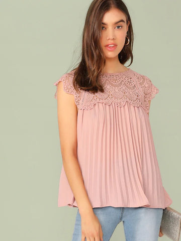 CM-TS514770 Women Casual Seoul Style Keyhole Back Guipure Lace Yoke Pleated Top - Pink