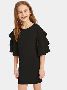 CM-KD531196 Girls Seoul Style Layered Bell Sleeve Solid Dress - Black