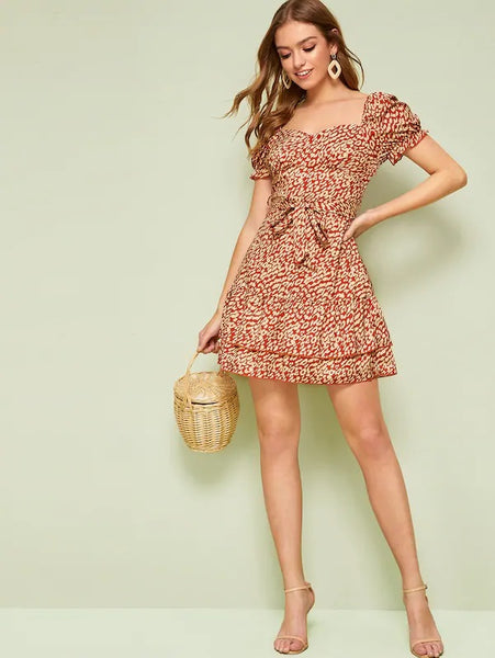 CM-DS523180 Women Trendy Seoul Style Sweetheart Neck Layered Hem Belted Leopard Dress