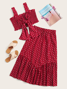 CM-SS620231 Women Casual Seoul Style Polka Dot Tie Front Shirred Cami Top With Ruffle Hem Skirt - Set