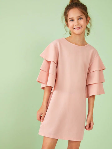 CM-KD531381 Girls Seoul Style Layered Bell Sleeve Solid Dress - Light Pink