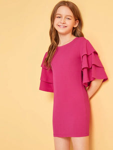 CM-KD531362 Girls Seoul Style Layered Bell Sleeve Solid Dress - Dark Pink