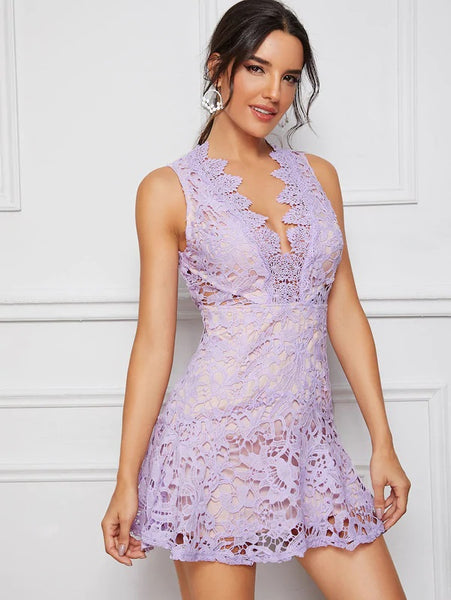 CM-DS610822 Women Elegant Seoul Style Plunging Neck Open Back Guipure Lace Overlay Dress - Purple