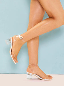 CM-SHS704341 Women Trendy Seoul Style Clear Ankle Strap Chunky Heels