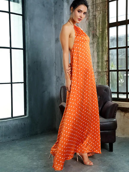 CM-FS710380 Women Elegant European Style Polka-Dot Backless Maxi Satin Halter Dress - Orange