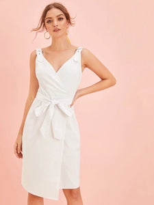 CM-DS625371 Women Elegant Seoul Style Solid Adjustable Strap Wrap Belted Dress - White