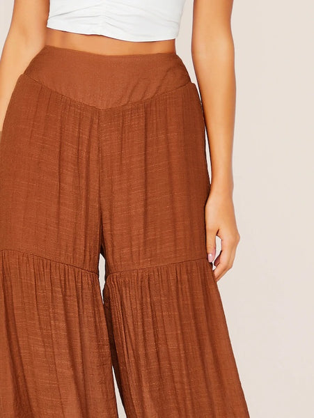 CM-BS705178 Women Casual Seoul Style High Waist Layered Ruffle Hem Super Palazzo Pants - Brown