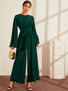 CM-JS708449 Women Elegant Seoul Style Bell Sleeve Pleated Lettuce Trim Belted Jumpsuit - Green
