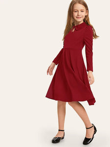CM-KD723769 Girls Seoul Style Button Keyhole Front Puff Sleeve Dress - Wine Red
