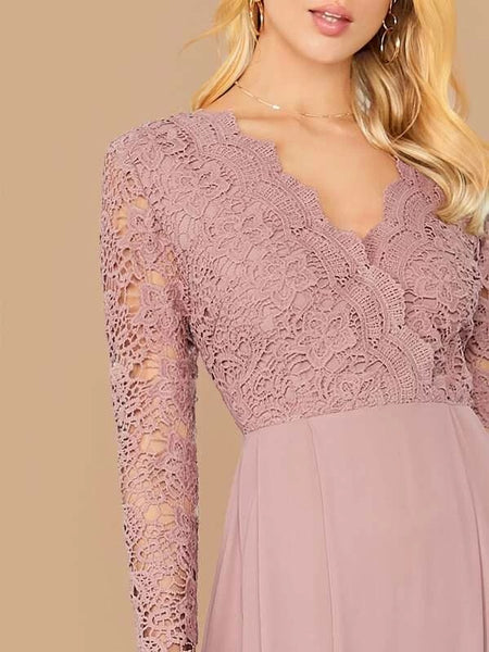 CM-DS730474 Women Elegant Seoul Style Long Sleeve Guipure Lace Bodice Boxy Pleated Dress - Purple