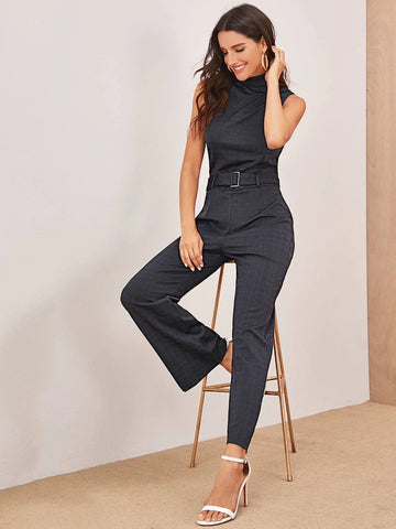 CM-JS612639 Women Elegant Seoul Style Sleeveless Self Belt Check Belted Jumpsuit - Gray