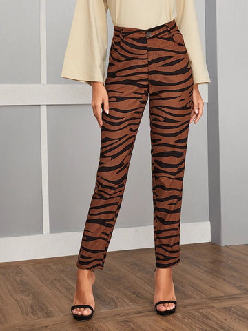 CM-BS823164 Women Casual Seoul Style High Waist Zebra Striped Button Front Pants - Brown