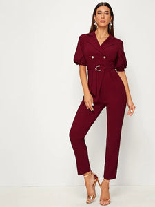 CM-JS819875 Women Casual Seoul Style Puff Sleeve Pearl Detail D-Ring Belted Jumpsuit - Wine Red