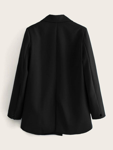 CM-CS917859 Women Elegant Seoul Style Long Sleeve Double Breasted Lapel Neck Blazer - Black