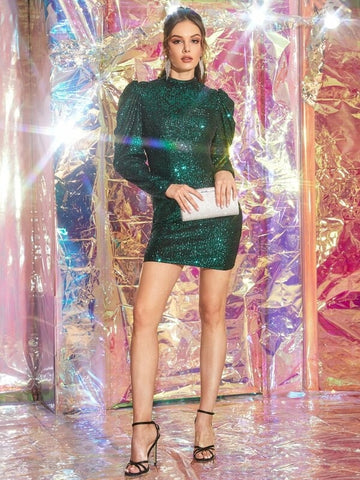 CM-DS924742 Women Elegant Seoul Style Sequin Mock Neck Puff Sleeve Bodycon Dress - Green