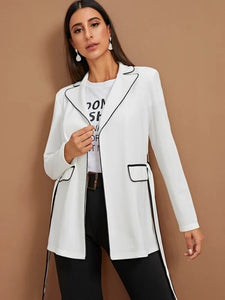 CM-CS012725 Women Casual Seoul Style Long Sleeve Contrast Piping Belted Blazer - White