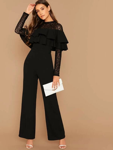 CM-JS925535 Women Elegant Seoul Style Long Sleeve Lace Layered Flounce Wide Leg Jumpsuit - Black