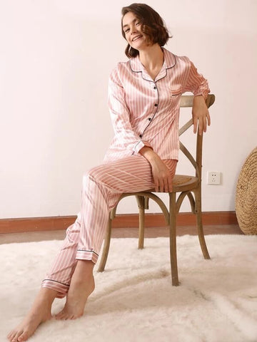 CM-PS022359 Women Casual Seoul Style Striped Pocket-Pp Satin Pajama Set