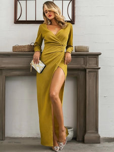 CM-DS022954 Women Elegant Seoul Style Long Sleeve Surplice Neck Wrap Ruched Prom Dress - Yellow