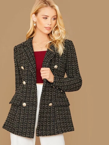 CM-CS015911 Women Elegant European Style Notched Collar Double Breasted Tweed Blazer - Black
