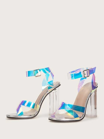 CM-SHS105792 Women Elegant Seoul Style Holographic Ankle Strap Chunky Heels