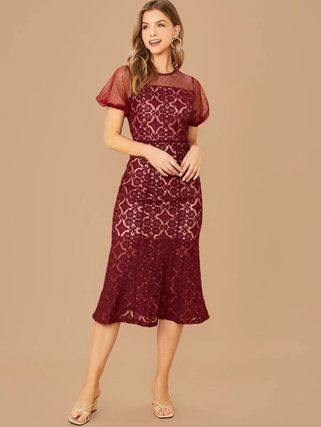 CM-DS024402 Women Elegant Seoul Style Puff Sleeve Mesh Yoke Lace Fishtail Dress - Wine Red