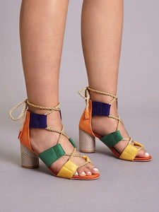 CM-SHS122684 Women Trendy Seoul Style Multi-Color Lace-Up Back Chunky Heels