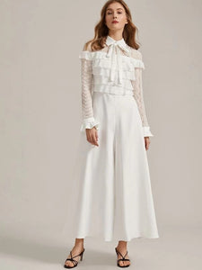 CM-JS001866 Women Elegant Seoul Style Tie Neck Lace Layered Ruffle Super Wide Leg Jumpsuit - White