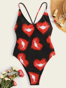 CM-SWS203840 Women Trendy Seoul Style Heart Print Criss Cross One Piece Swimsuit - Black