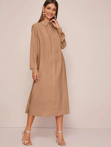 CM-DS126376 Women Casual Seoul Style Long Sleeve Collared Pleated Back Shirt Dress - Camel