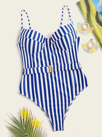 CM-SWS204201 Women Trendy Seoul Style Striped Belted One Piece Swimsuit - Blue
