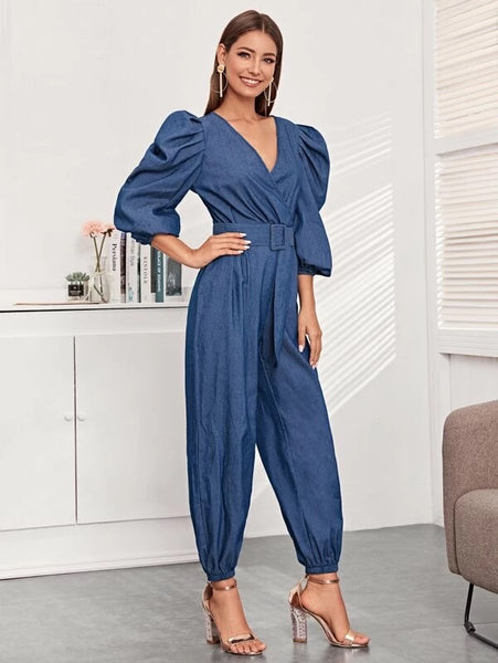 CM-JS121147 Women Elegant Seoul Style Lantern Sleeve Surplice Neck Buckle Belted Jumpsuit - Blue