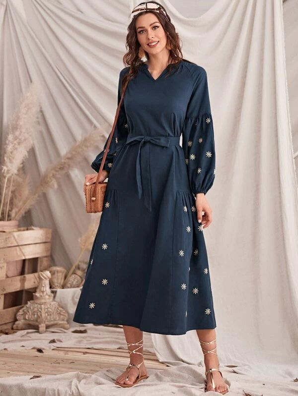 CM-DS204075 Women Elegant Seoul Style Raglan Sleeve Self Belted Floral Embroidery Dress - Navy Blue