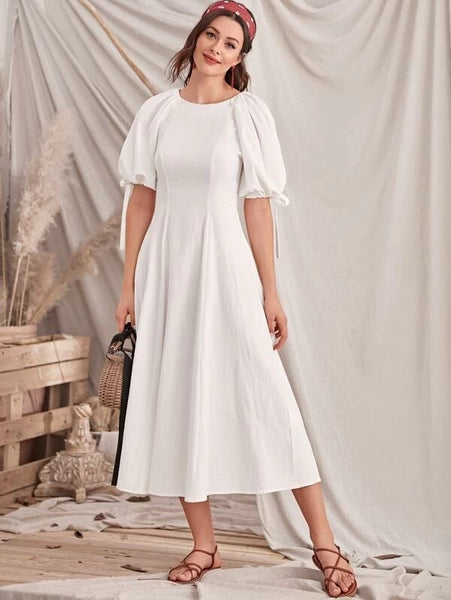 CM-DS202017 Women Casual Seoul Style Contrast Lace Up Back Knot Cuff Puff Sleeve Dress - White