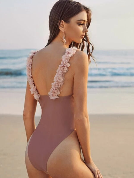 CM-SWS118319 Women Trendy Seoul Style Floral Appliques One Piece Swimsuit - Pink