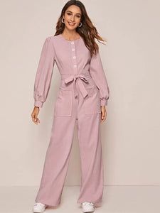 CM-JS221727 Women Trendy Seoul Style Long Sleeve Solid Belted Pocket Front Jumpsuit - Pink