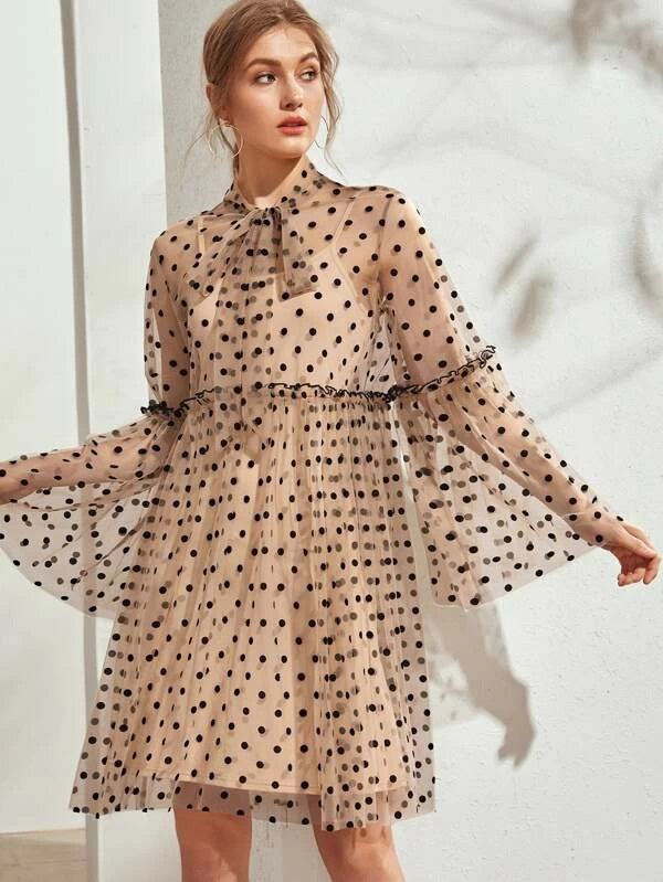 CM-DS221990 Women Casual Seoul Style Tie Neck Polka Dot Sheer Dress With Cami Dress - Brown