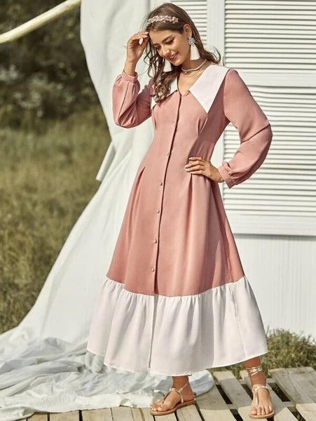 CM-DS102988 Women Casual Seoul Style Contrast Panel Pearls Button Ruffle Hem Dress - Pink