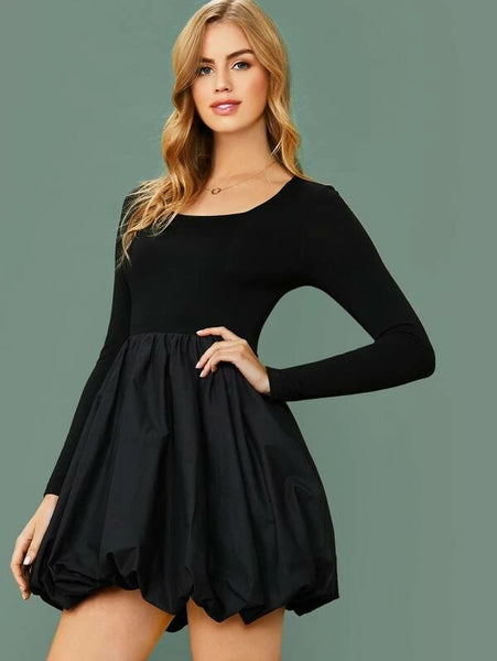 CM-DS212643 Women Elegant Seoul Style Long Sleeve Mixed Media Lantern Dress - Black