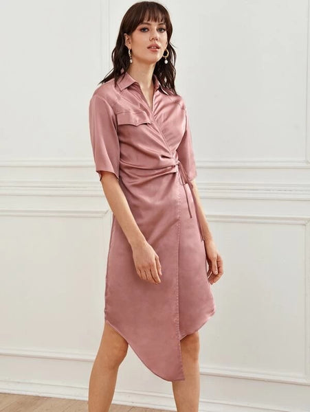 CM-DS216236 Women Casual Seoul Style Collared Wrap Tie Side Asymmetrical Hem Satin Dress - Pink