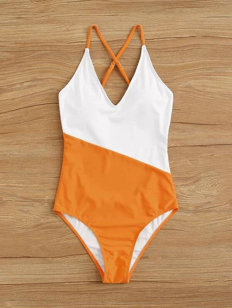 CM-SWS103477 Women Trendy Seoul Style Colorblock Criss Cross One Piece Swimsuit