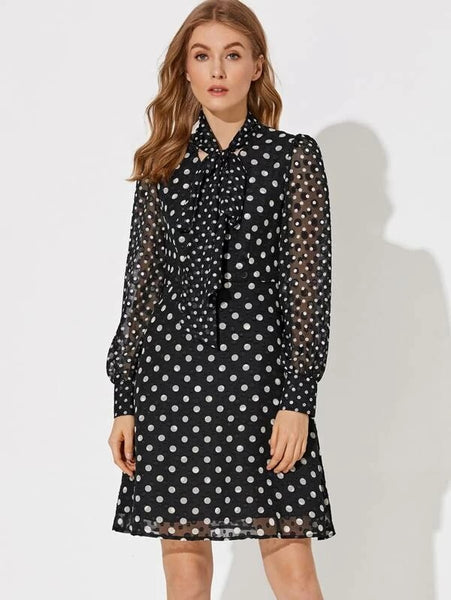 CM-DS126214 Women Elegant Seoul Style Long Sleeve Premium Tie Neck Polka Dot Print Dress - Black