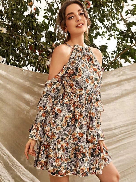 CM-DS109788 Women Casual Seoul Style Layered Sleeve Cold Shoulder Floral Print Short Dress